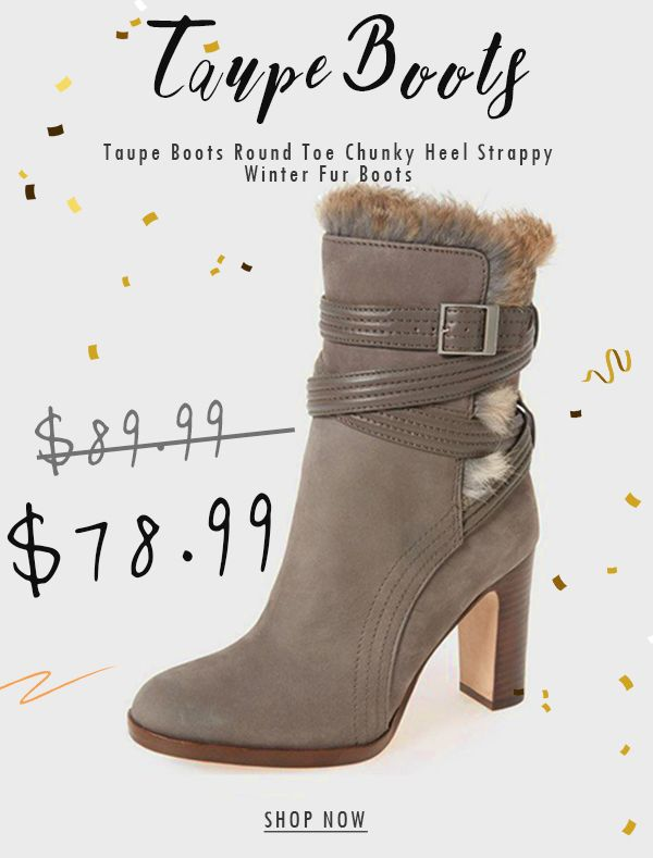 Taupe Pointy Toe Block Heels Suede Fur Boots For Women Chic .