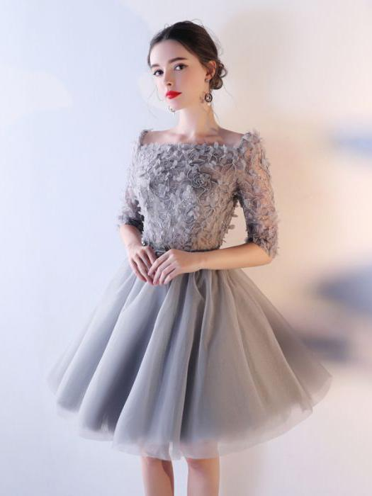 Chic A-line Square Silver Tulle Applique Short Prom Dress .