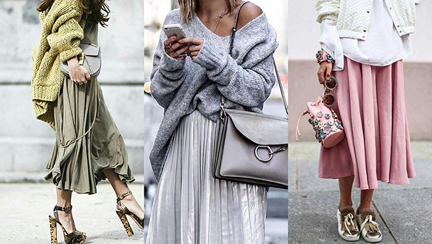 This Is How You Wear Oversized Sweaters on Skirts If You're In