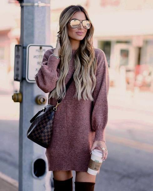 fall style, oversized sweater, sweatshirt dress, sweater dress .