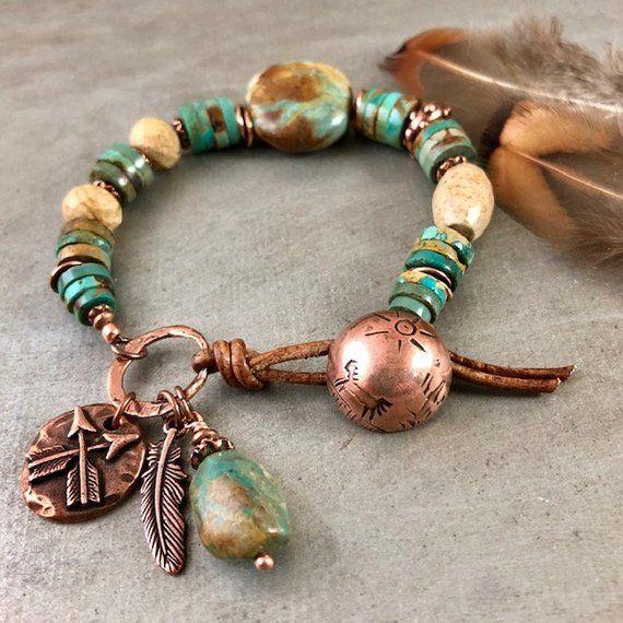 Rustic Turquoise Bracelet, Copper Bracelet, Natural Stone Jewelry .