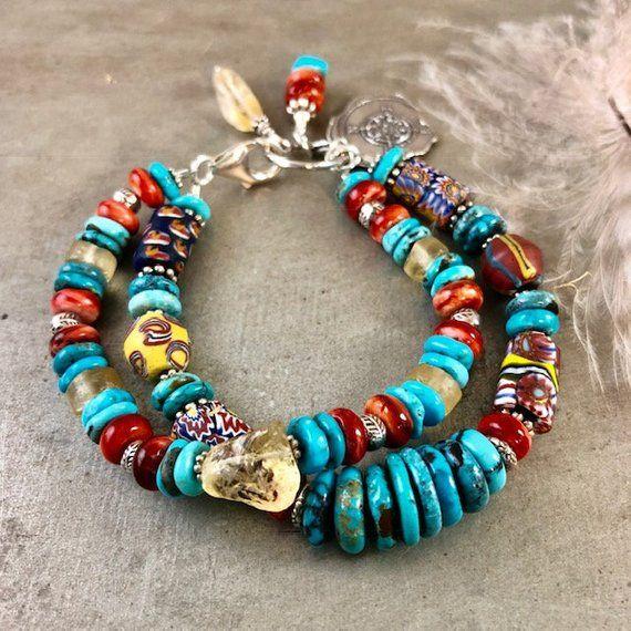 Antique African Trade Bead Bracelet, Turquoise Jewelry, Sundance .