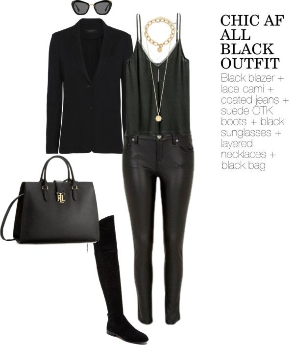 AllBlack outfit perfect for a winter date or girls night out .