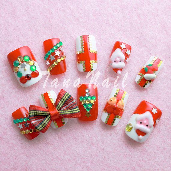 Japanese Nail Art Tips - Christmas Design Santa Claus Red & White .