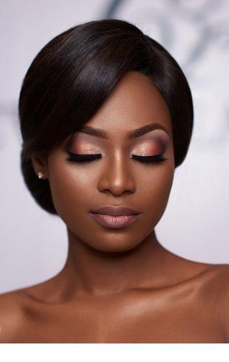 Cute pink makeup and classy hairstyle | Black bridal makeup, Dark .