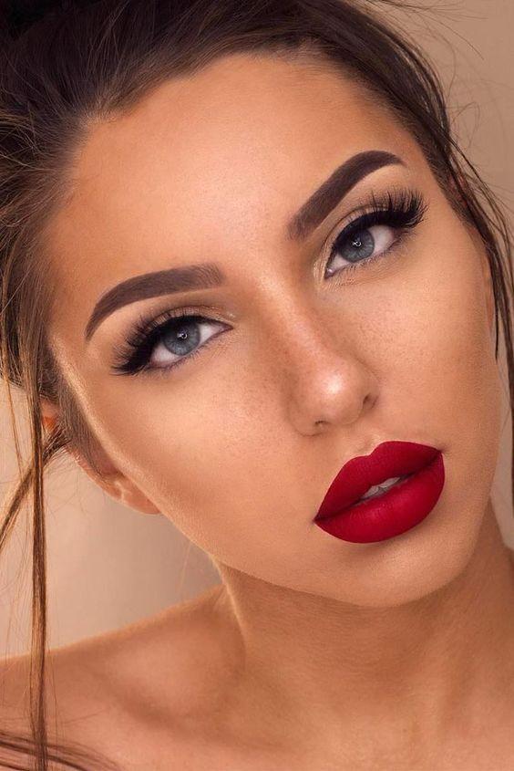 Classic Look | Red lip makeup, Spring wedding makeup, Spring make