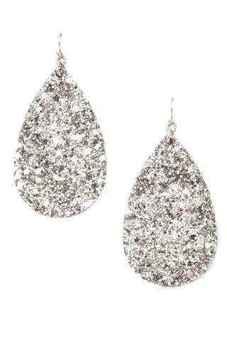 Silver Glittered Teardrop Dangle Earrings   Teardrop dangle .