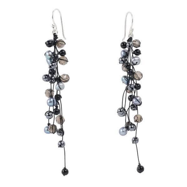 Shop Handmade Elegantly Classy Black Pearls Quartz Long Dangle .