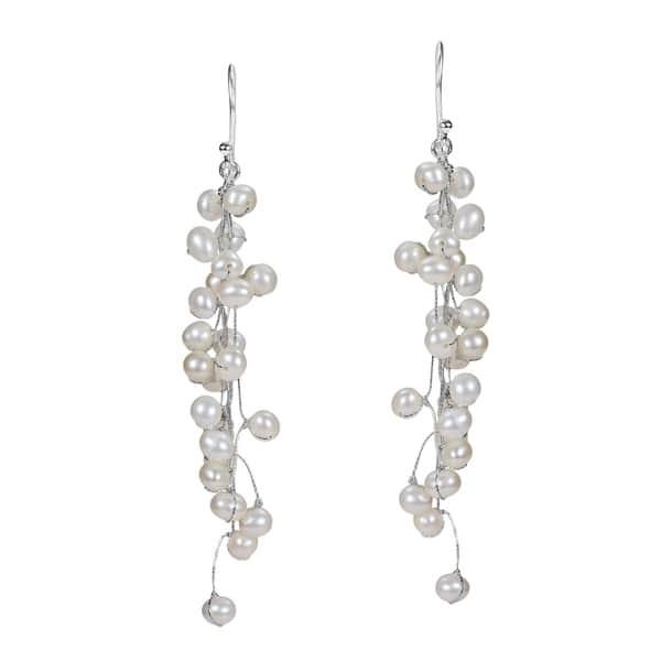 Shop Handmade Elegantly Classy White Pearls Long Dangle Earrings .