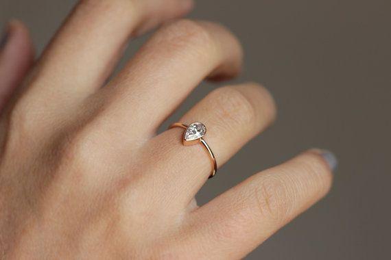 Solitaire Pear Diamond Engagement Ring, Half Carat Pear Diamond .