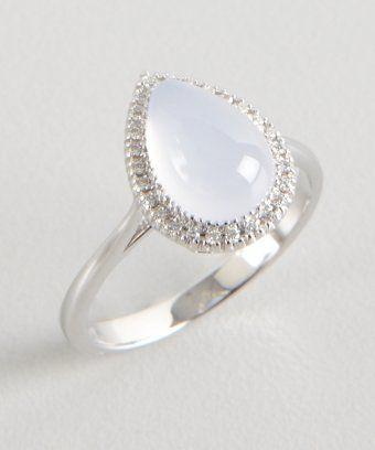 Armadani: chalcedony and diamond teardrop ring | Teardrop ring .