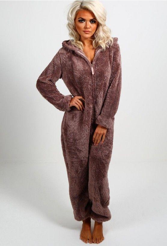 Cozy Taupe Fleece Hooded Ear Onesie - 10 | Womens onesie, Street .