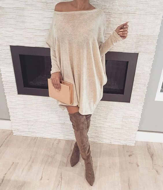 comfy sweater dress and over the knee boots   Sweater dress .