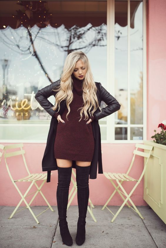 20 Sexy And Comfy Sweater Dress With Boots Outfits - Styleohol