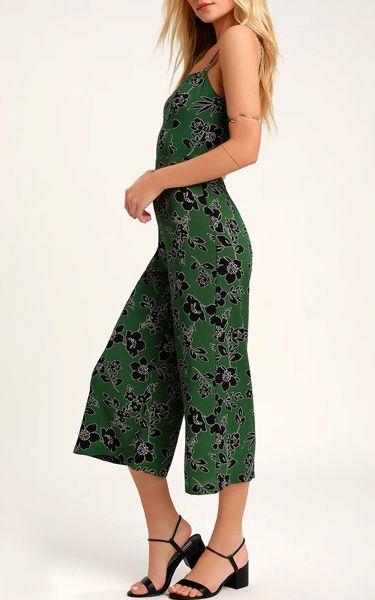 LUSH Guinevere Green Floral Print Culotte Jumpsuit - BestFashionHQ .