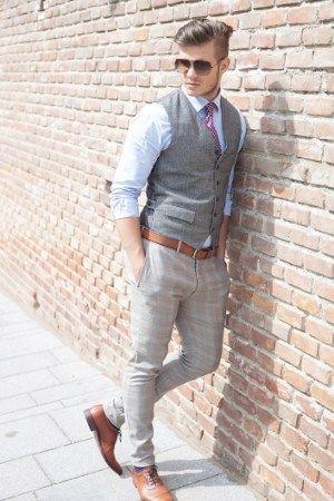 man-dressed-in-gray-vest.jpg (300×450)   Summer party attire, Mens .