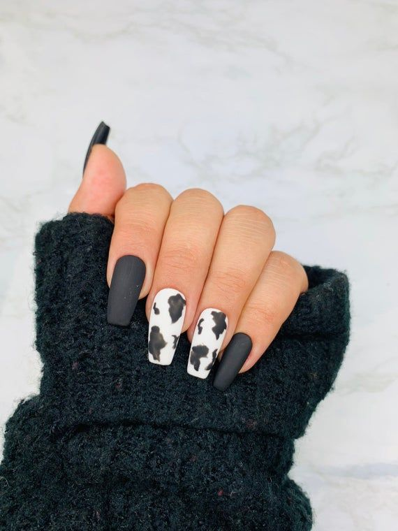 READY TO SHIP| Cow Print | Press On Nails | Cow Nails | Black .