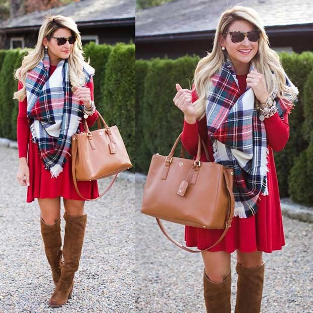 59 Cute Christmas Outfit Ideas   StayGlam   Red dress christmas .
