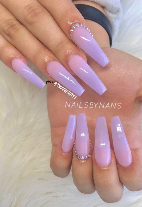 60 Cute Coffin Nails Colors Designs - NailiDeasTrends   Purple .