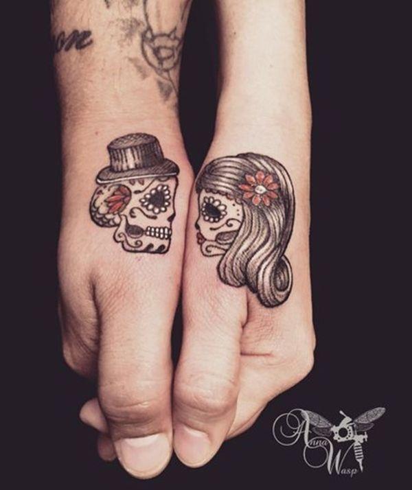 45 Cute Couple Tattoo Designs - Buzz 2018   Skull couple tattoo .