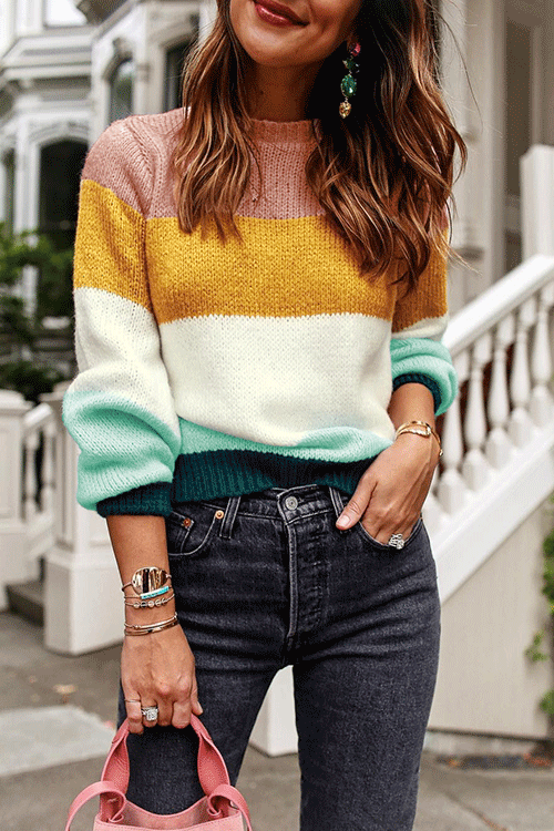 Orsle Knitted Patchwork Long Sleeve Stripes Sweaters | Knit .