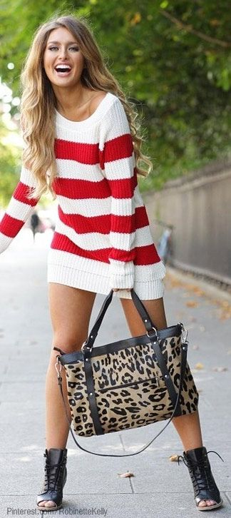 Red & white striped sweater -- so cute and bold with a funky purse .
