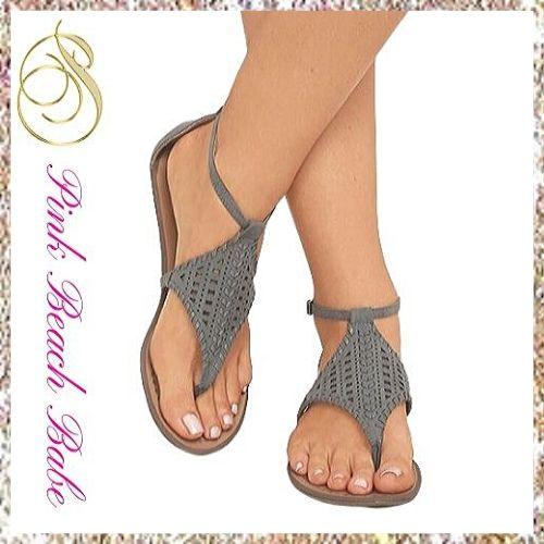 Flat Boho Sandals ~ Cute Summer Sandals ® Pink Beach Ba