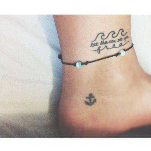 cutelittletattoos | Beach inspired tattoos, Ankle tattoo, Waves tatt