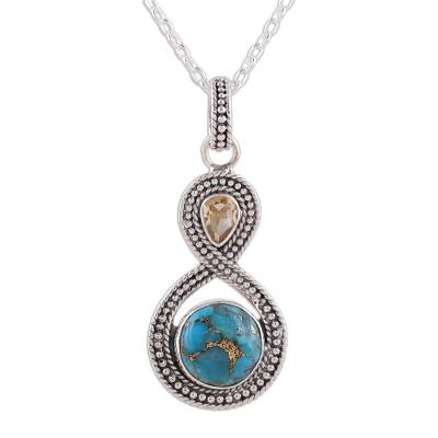 Indian Citrine and Composite Turquoise Pendant Necklace - Dazzling .