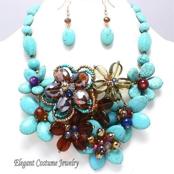 Dazzling Turquoise Chunky Flower Necklace | Elegant costume .
