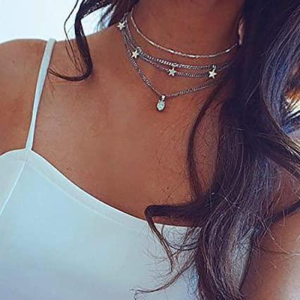 Amazon.com: Fdesigner Star Opal Choker Necklace Silver Layered .
