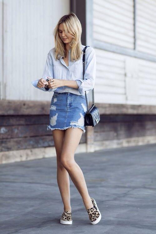 Weekend wear}   Denim button up shirt, distressed denim skirt .