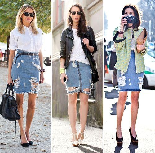 denim - ripped denim mini skirts - 3 looks - fashion   Denim .