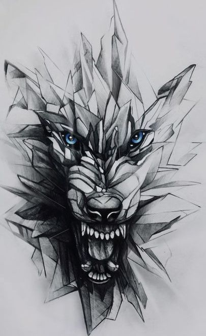 Drawing for tattoo angry wolf. geometric effect #wolf #geometric .