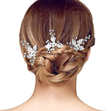 Amazon.com : Sppry Wedding Hair Pins (3 Pcs) - Elegant Pearl Leaf .