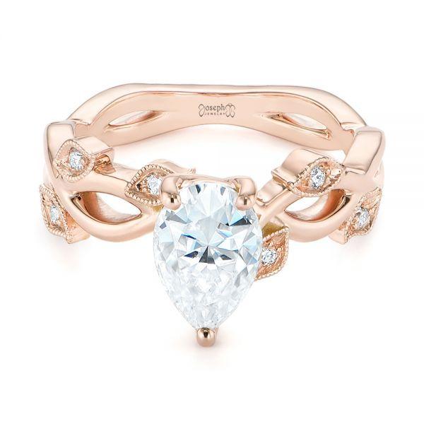 Custom Floral Moissanite And Diamond Engagement Ring #104880 .