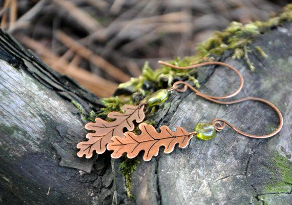 Oak leaf earrings from copper with peridot Fall forest Outdoor .