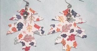 Fall inspired oak leaf earrings in many colors Silver acorn | Et