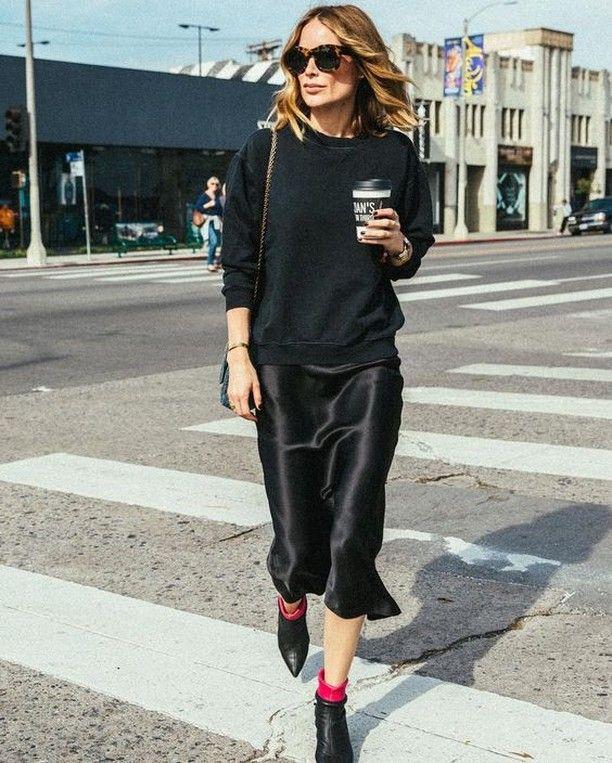 Black sweater + slip dress + ankle boots   Slip dress street style .