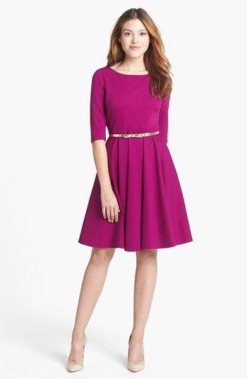 Eliza J Ponte Knit Fit & Flare Dress (Regular & Petite .