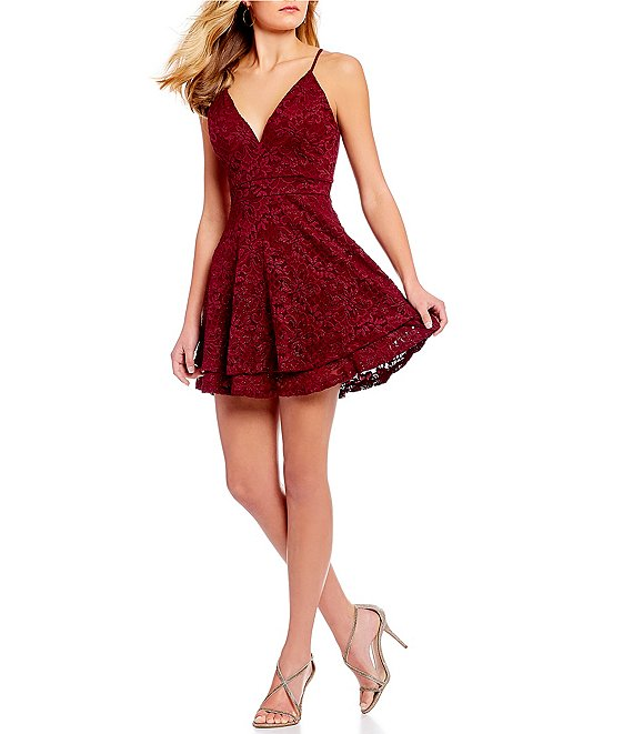 Honey and Rosie V-Neck Lace Bra Back Fit-And-Flare Dress   Dillard