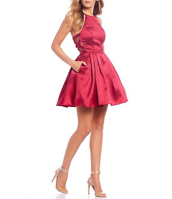 B. Darlin High-Neck Satin Fit-and-Flare Dress   Dillard