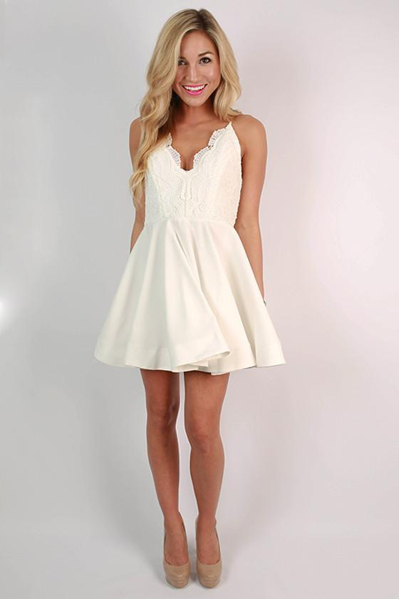 Crochet & Perfection Fit & Flare Dress in White • Impressions .