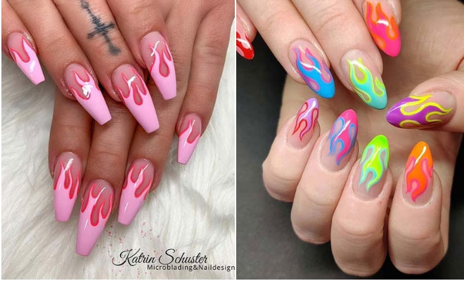 21 Flame Nail Ideas - the Newest Summer Manicure Trend   StayGl