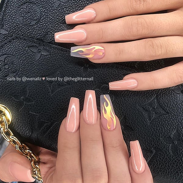 30+ Flame Nails Art Designs You Must Have in Summer 2019   Flame .