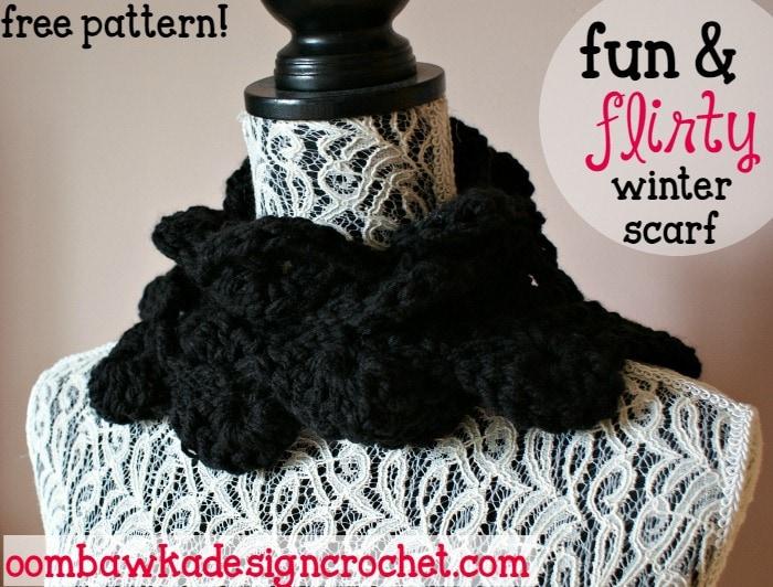 Fun and Flirty Winter Scarf Pattern • Oombawka Design Croch