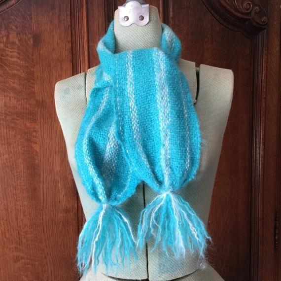 Flirty Mohair Winter Scarf Blue White Stripes and Tassels   Etsy .