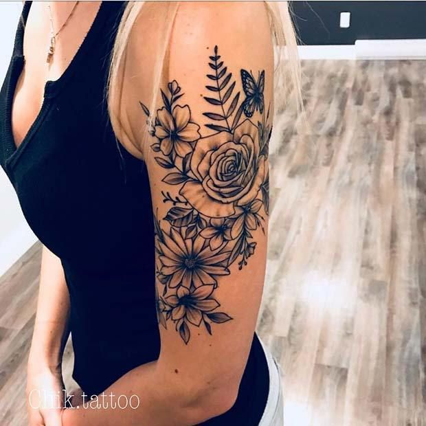 8. Upper Arm Flower Tattoo Idea | 13 Flower Tattoo Ideas for Every .
