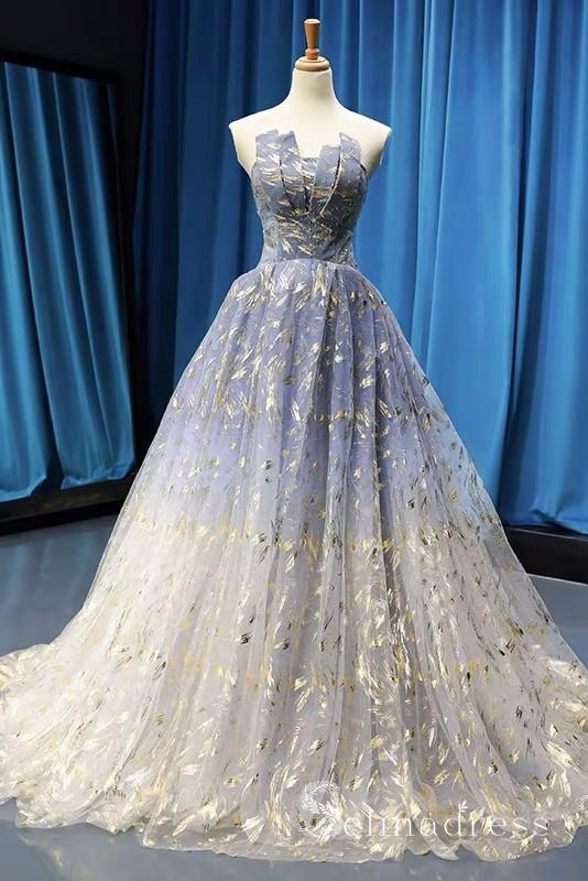 Gorgeous Sparkly Blue Prom Dresses Ball Gown Strapless Long Formal .