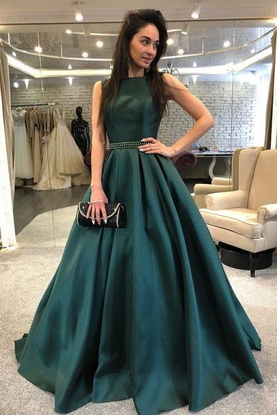 sleeveless-dark-green-formal-evening-gown-with-beaded-belt   Dark .